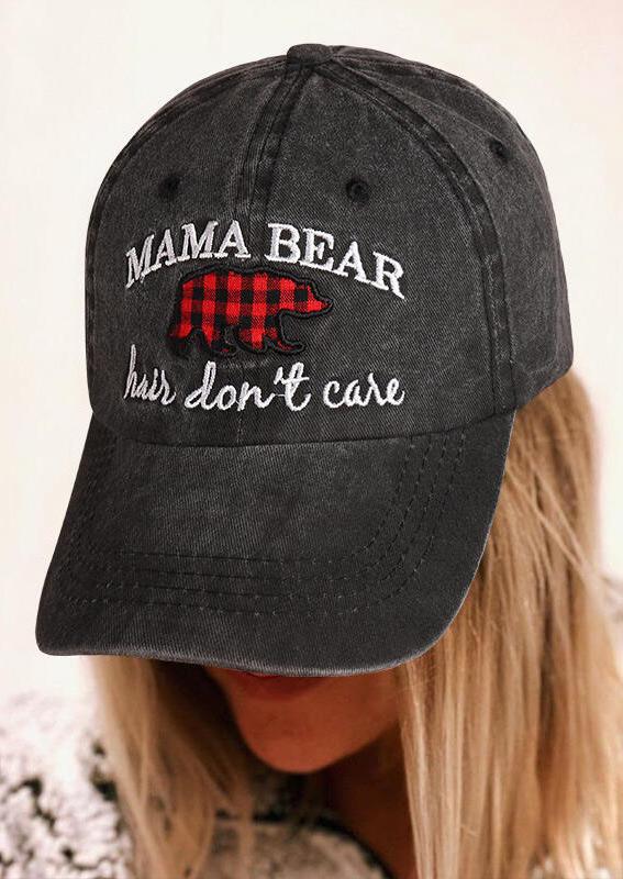 Fairyseason coupon: Buffalo Plaid Mama Bear Hair Don't Care Baseball Cap