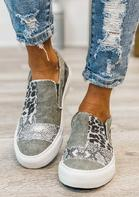 Leopard Snake Skin Camouflage Splicing Flat Canvas Sneakers - Gray