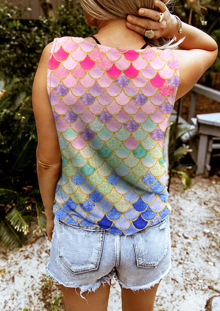 Gradient Mermaid Scales Notched Neck Hole Tank