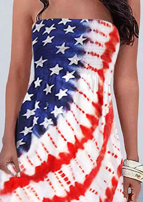 American Flag Star Smocked Strapless Mini Dress