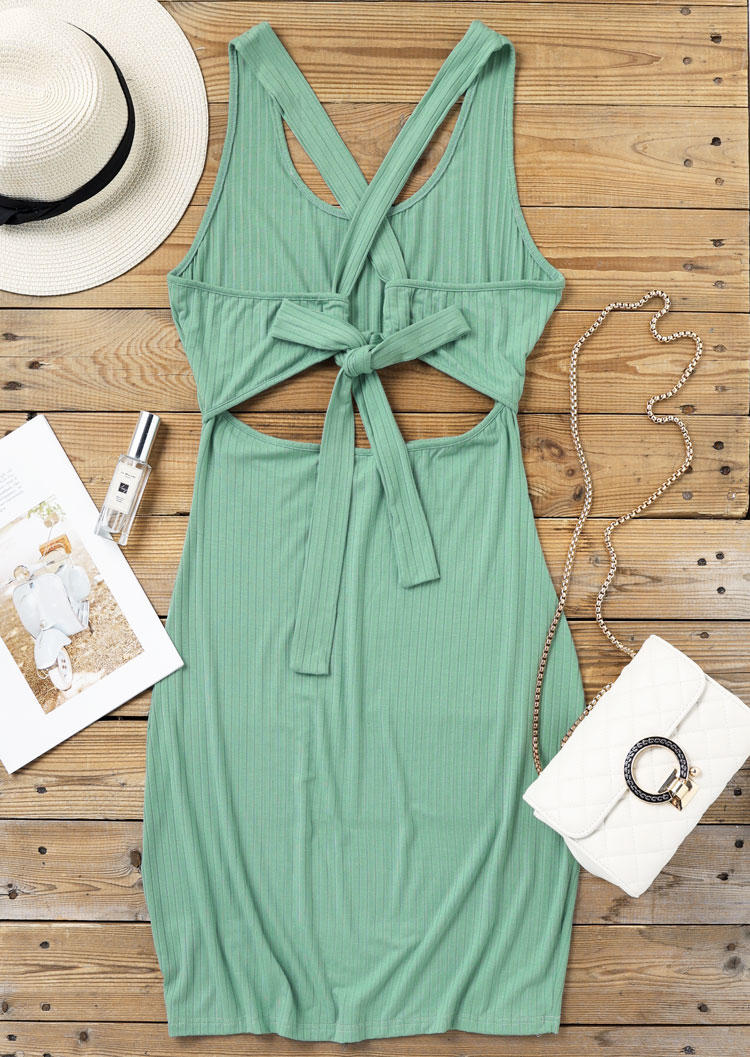 Hollow Out Open Back Tie Bodycon Dress - Light Green