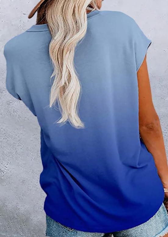 Gradient Pocket Slit O-Neck Blouse - Blue
