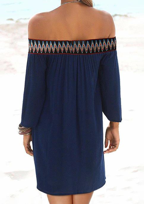 Vintage Wave Ruffled Off Shoulder Mini Dress - Navy Blue