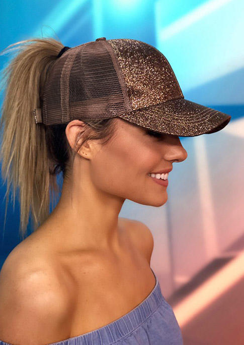 Hats Sequined Mesh Splicing Baseball Cap in Pink. Size: One Size