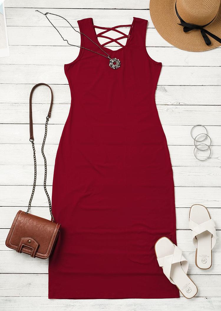 Criss-Cross Open Back Sleeveless Bodycon Dress - Red