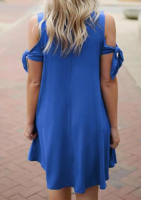 Pocket Tie Cold Shoulder Mini Dress - Blue