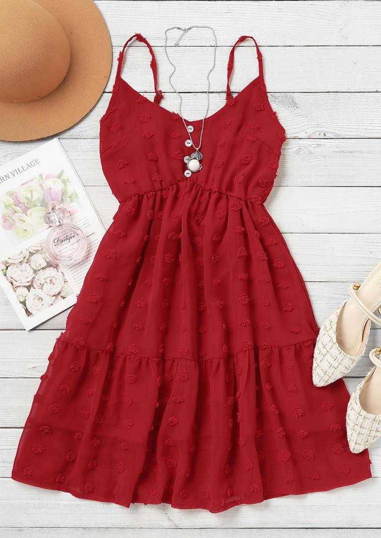Dotted Swiss Button Ruffled Spaghetti Strap Mini Dress - Red