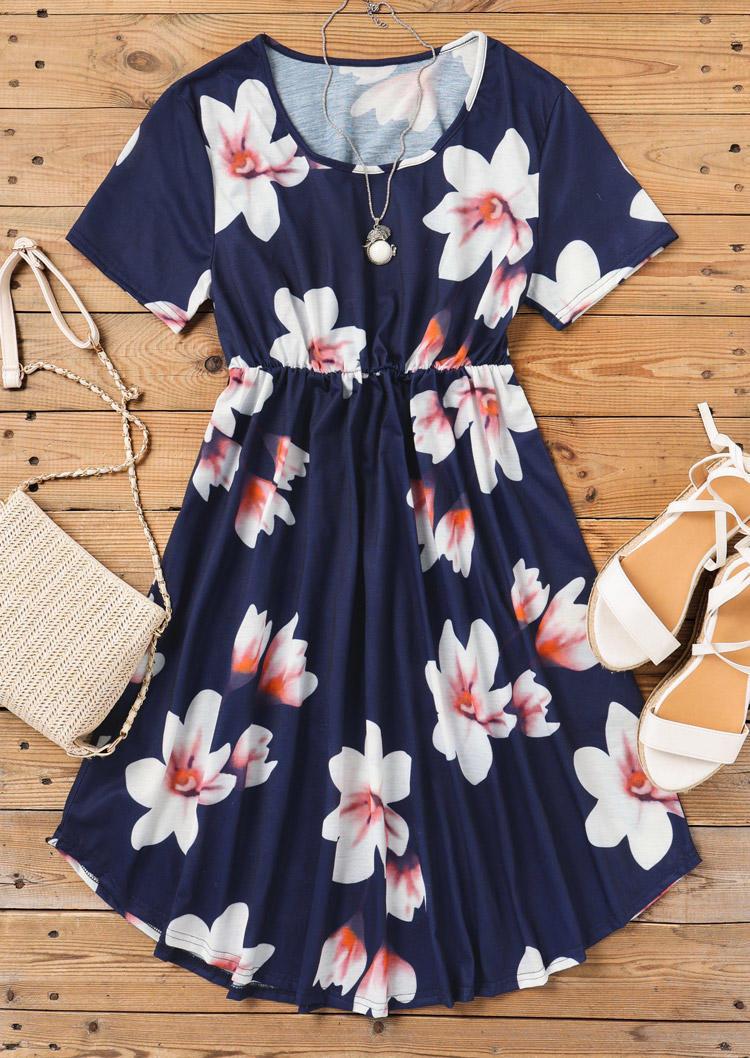 Floral Ruffled O-Neck Mini Dress - Navy Blue