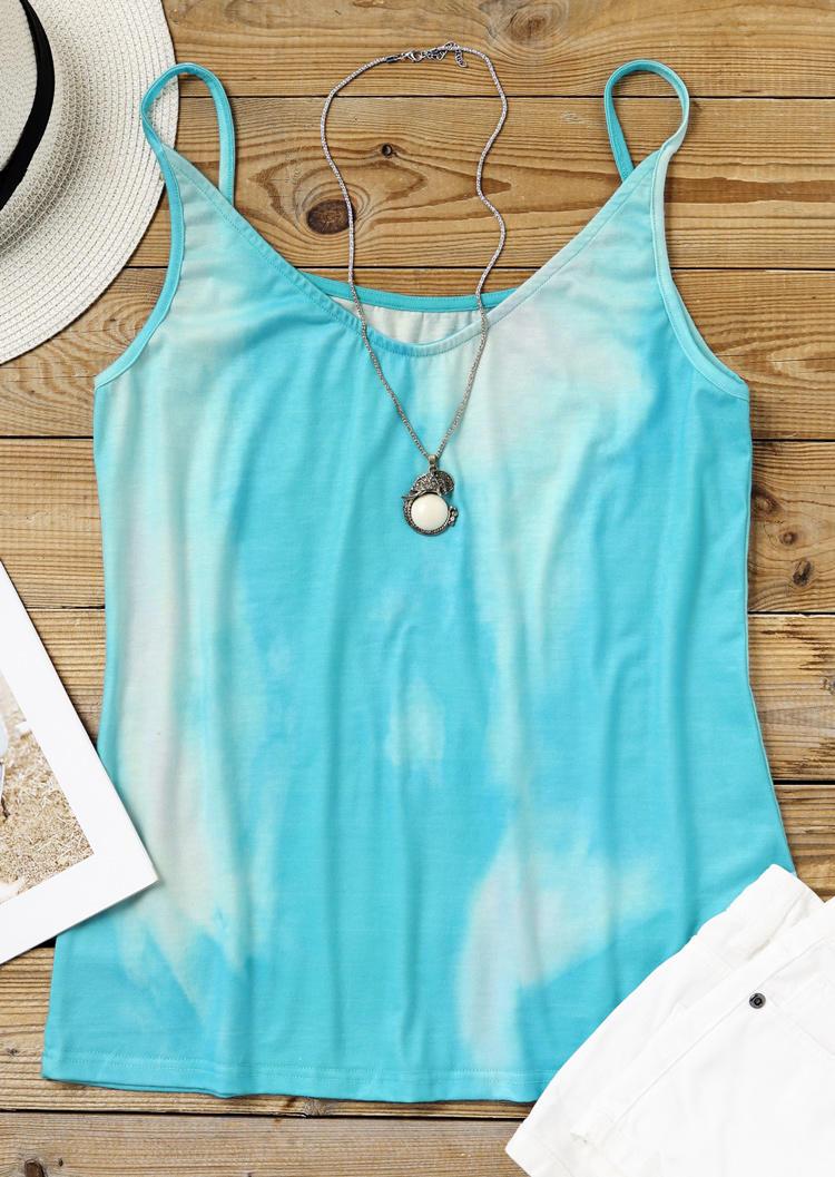 Gradient Tie Dye Sleeveless Camisole - Lake Blue