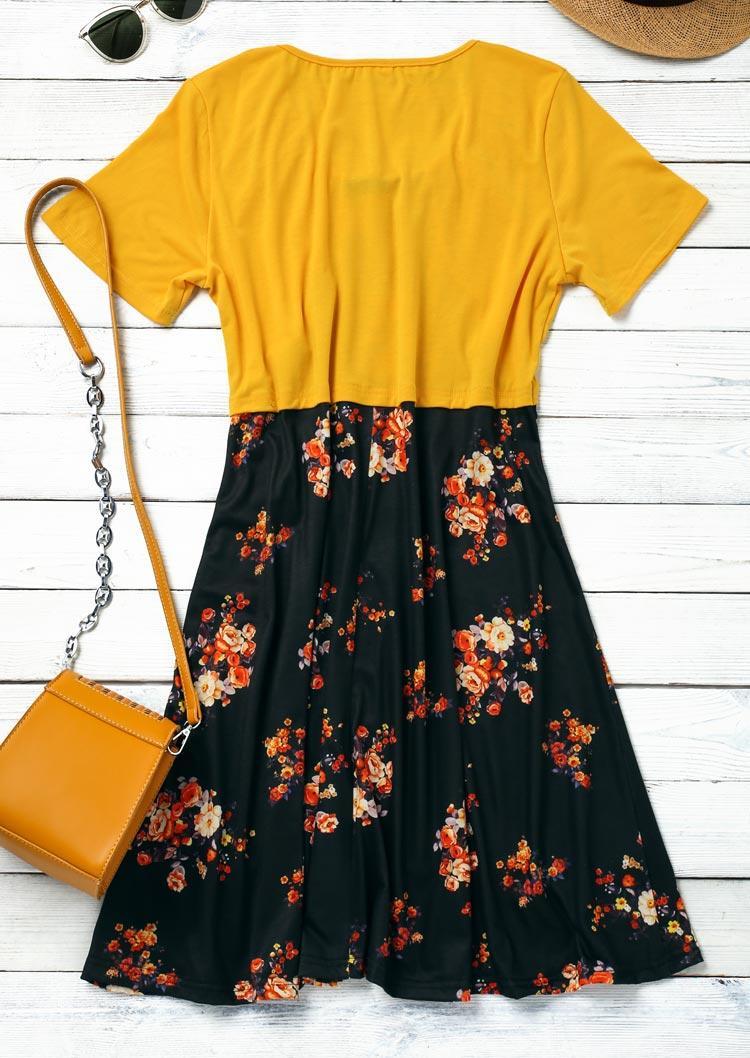 Floral Ruffled Tie Casual Mini Dress