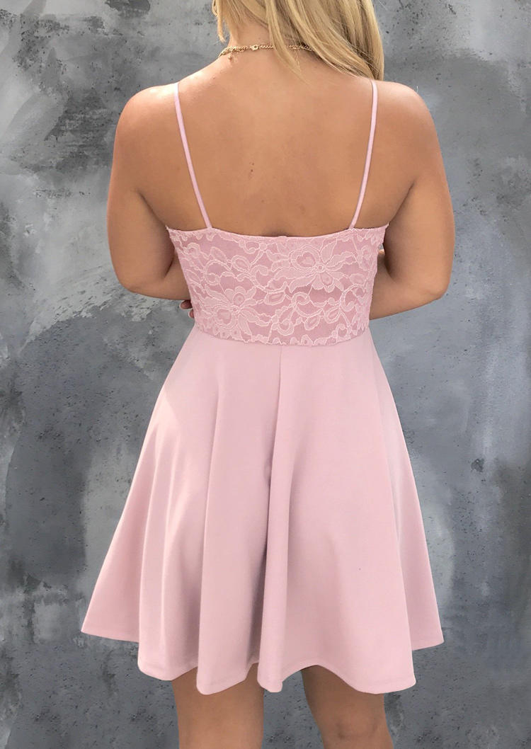 Lace Hollow Out Twist Open Back Mini Dress - Pink