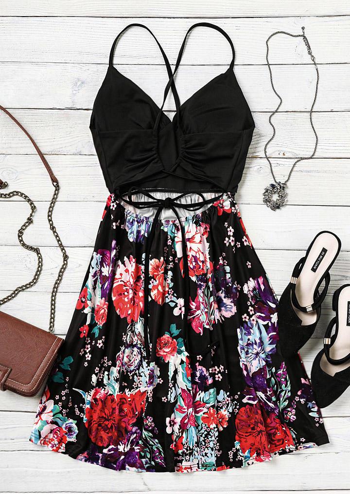 Floral Spaghetti Strap Open Back  Criss-Cross Mini Dress - Black