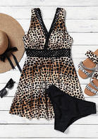 Leopard Hollow Out Wide Strap Tankini Set