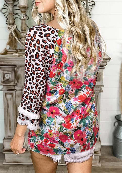 Blouses Leopard Floral Tassel Raglan Sleeve Blouse in Multicolor. Size: M