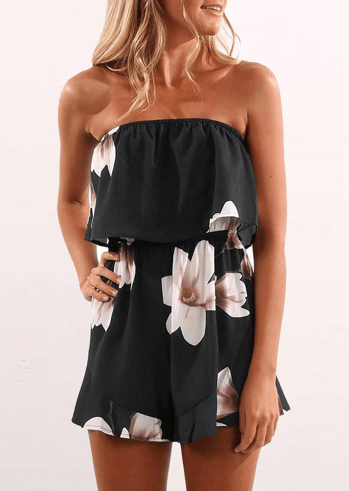 Floral Layered Strapless Elastic Waist Romper - Black