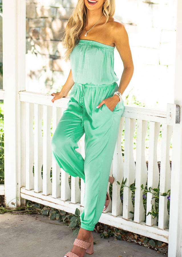 Jumpsuits & Rompers Strapless Elastic Waist Drawstring Pocket Jumpsuit in Light Green. Size: S,M,L,XL