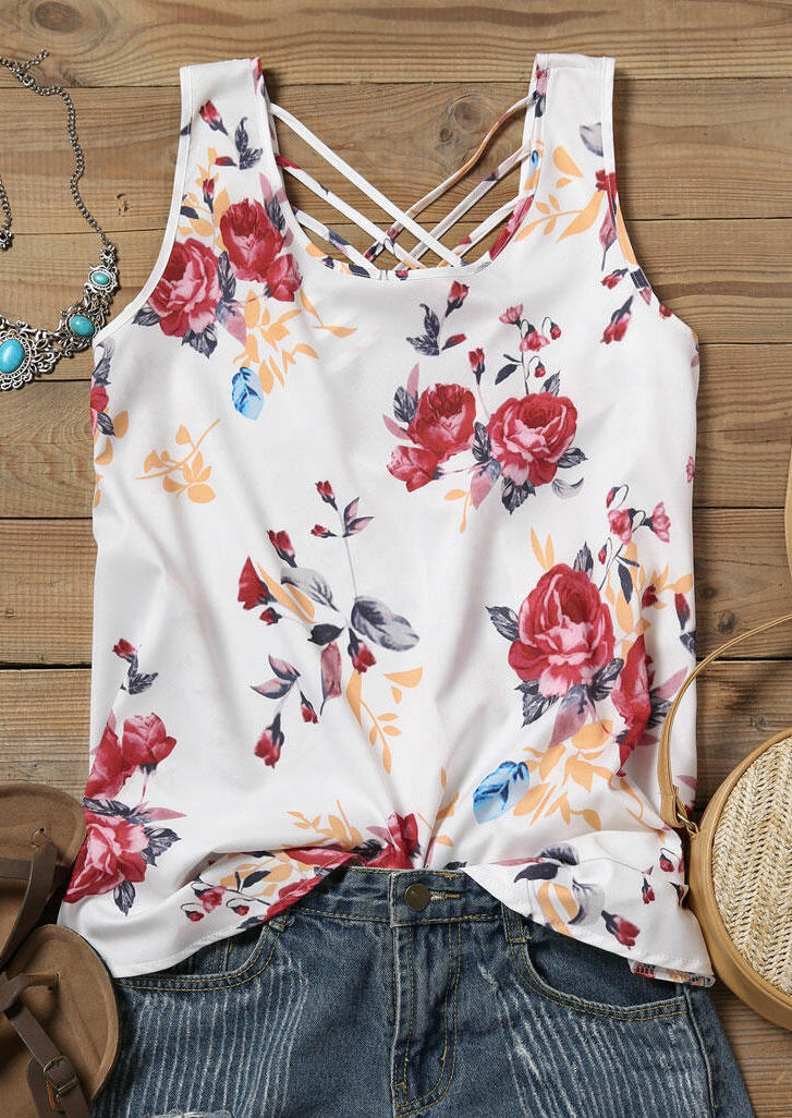 Floral Criss-Cross Hollow Out Tank - White