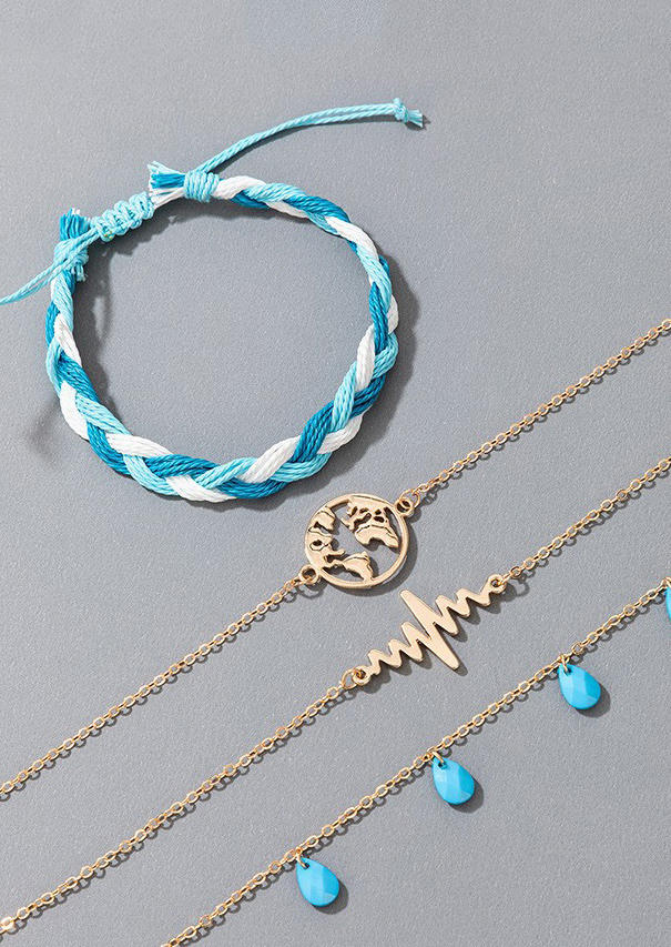 Body Jewelry 4Pcs Map ECG Heartbeat Braided Anklet Set in Blue. Size: One Size
