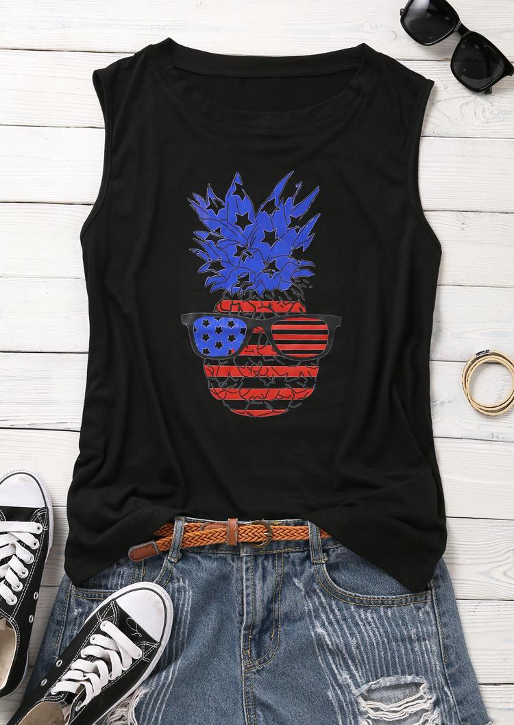 Pineapple American Flag Star Striped Tank - Black
