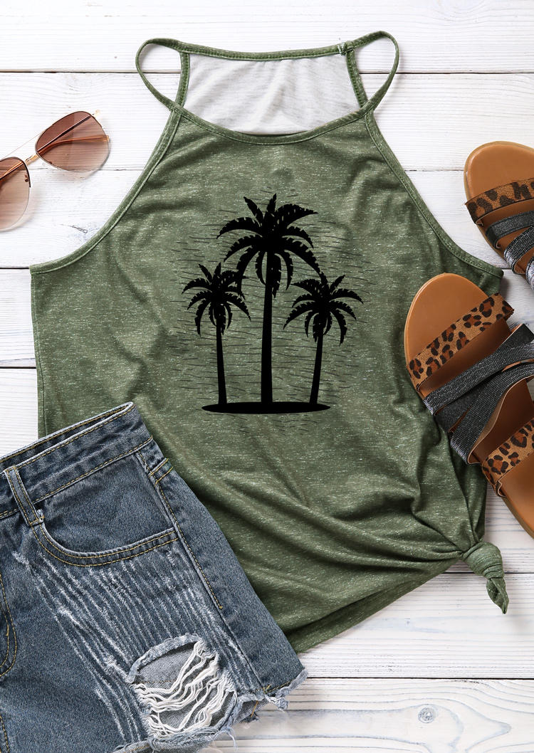 Palm Tree Halter Camisole - Army Green