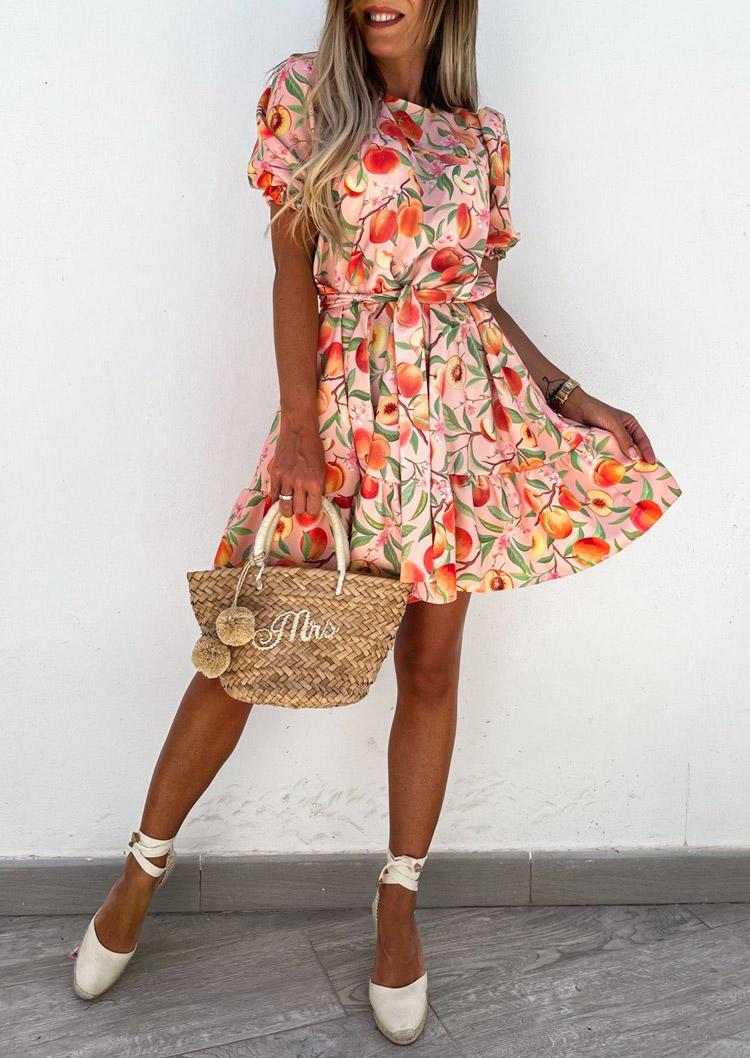 Peach Ruffled Elastic Cuff Mini Dress with Headband