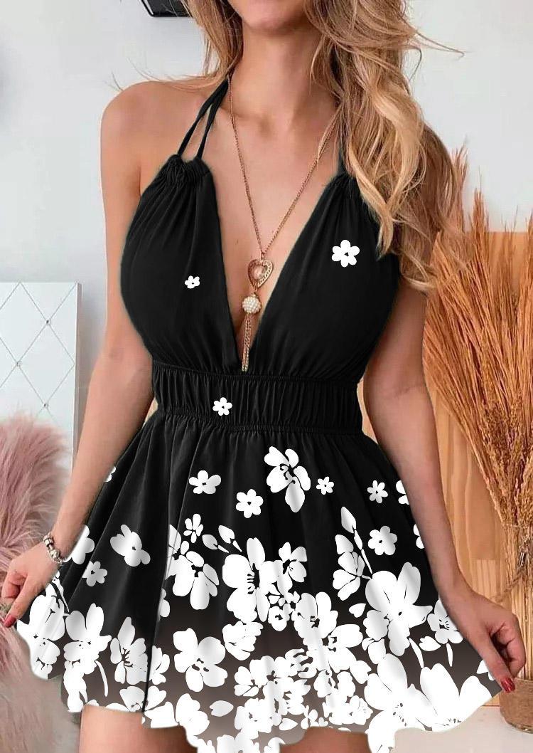 Floral Deep V-Neck Open Back Halter Mini Dress - Black