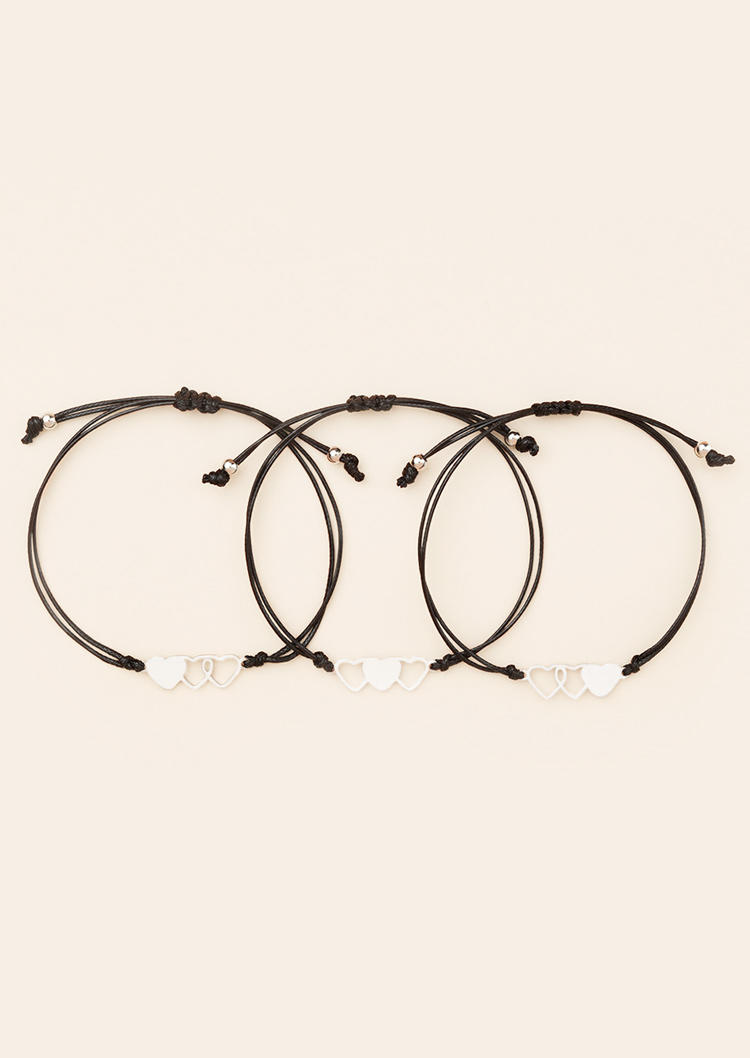 3Pcs Hollow Out Heart Adjustable Braided Bracelet Set - Black