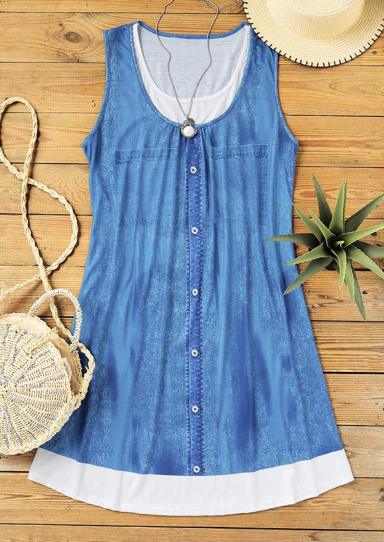 Color Block Sleeveless Fake Two-Piece Mini Dress - Blue