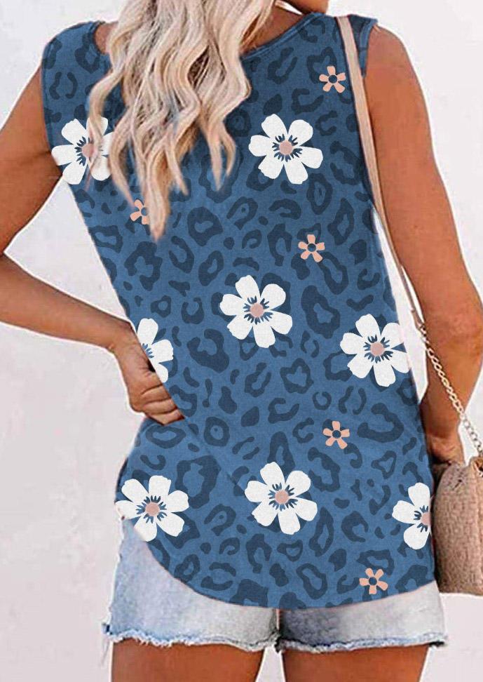 Leopard Floral Sleeveless Tank - Blue