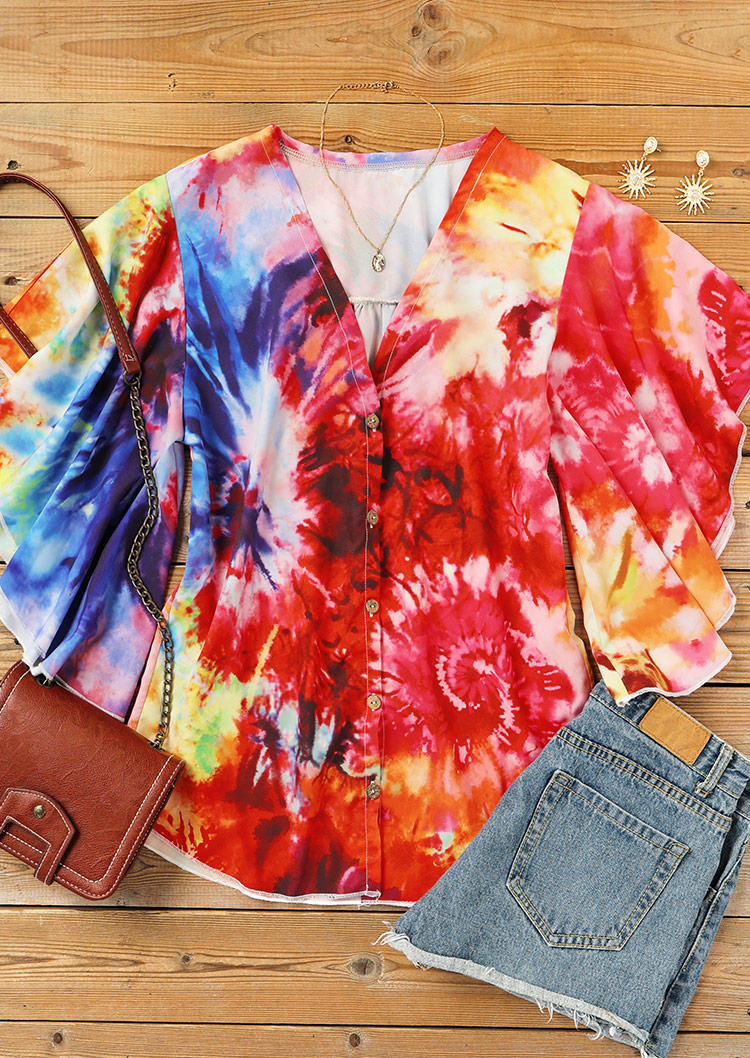 Tie Dye Ruffled Button Batwing Sleeve V-Neck Blouse