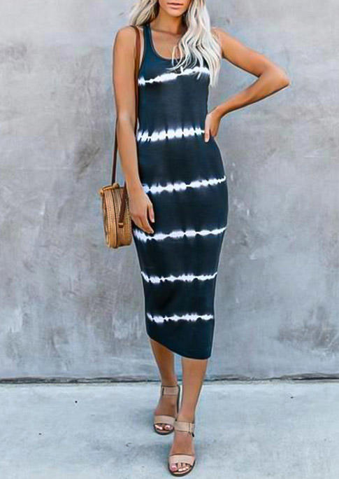 Striped Tie Dye Sleeveless Bodycon Dress - Navy Blue