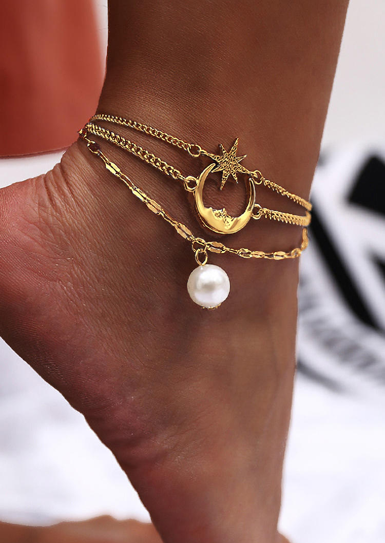 Body Jewelry Abstract Face Star Moon Beaded Double-Layered Anklet in Gold,Silver. Size: One Size