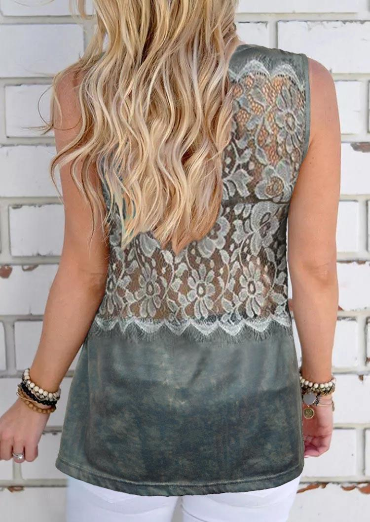 Floral Lace Sleeveless Tank - Gray