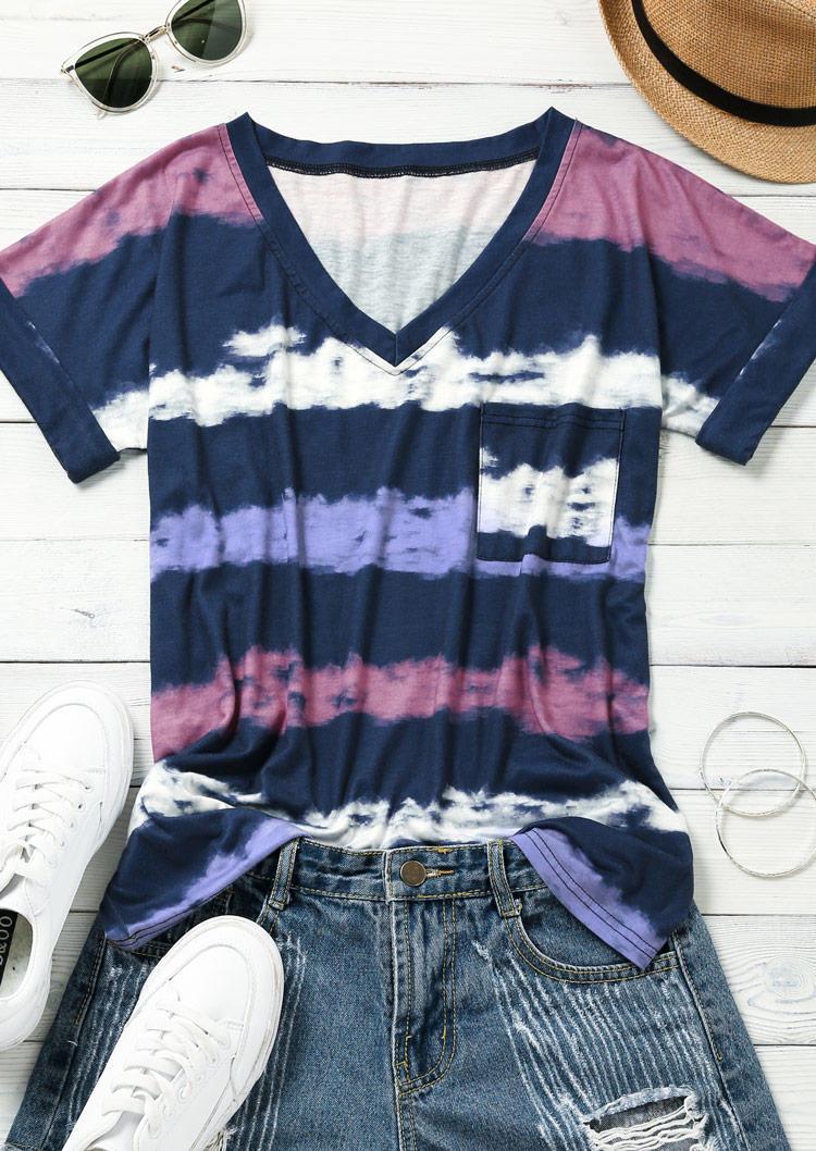 Blouses Colorful Striped Pocket V-Neck Blouse in Multicolor. Size: S,M,L,XL