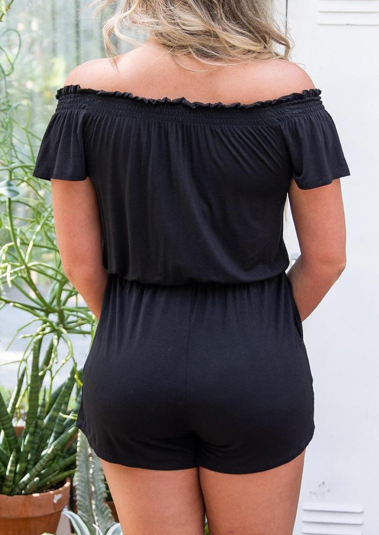 Pocket Elastic Waist Off Shoulder Romper - Black