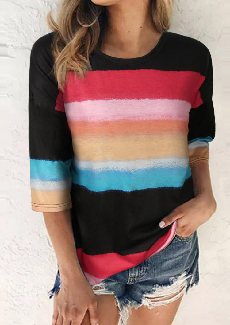 Gradient Rainbow Striped O-Neck Blouse