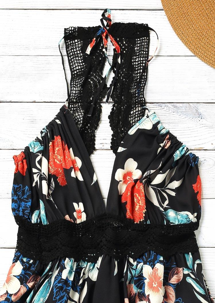 Floral Ruffled Lace Splicing Open Back Mini Dress - Black