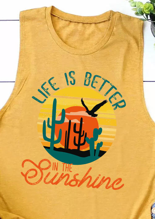 Life Is Better In The Sunshine Cactus Tank - Yellow