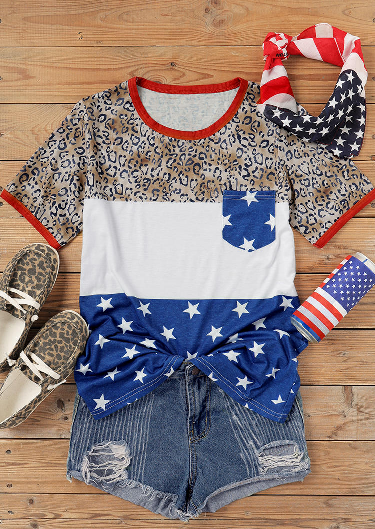 Leopard Color Block American Flag Star Pocket Blouse