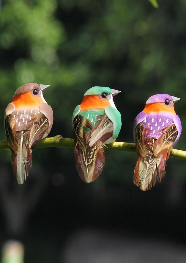 12Pcs Simulation Foam Birds Feather Garden Decoration in Multicolor. Size: One Size