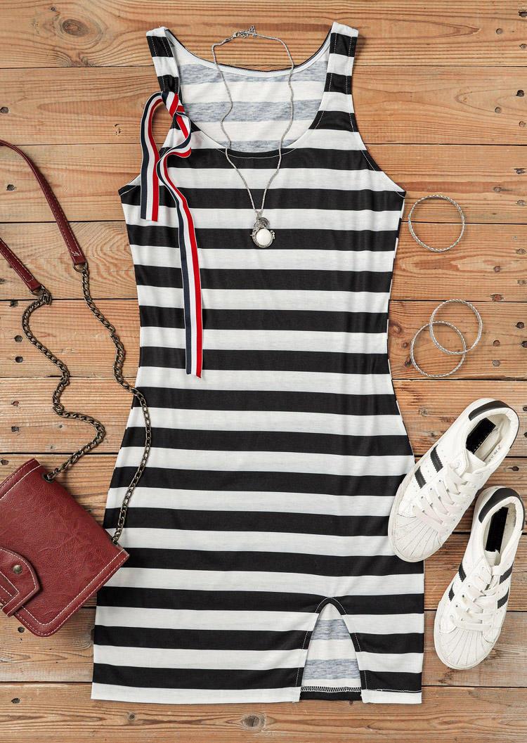 Striped Slit Sleeveless Bodycon Dress