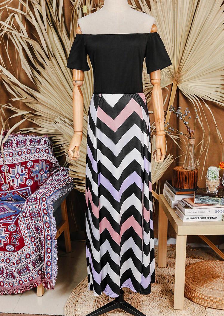 Colorful Zigzag Slit OffShoulder Maxi Dress
