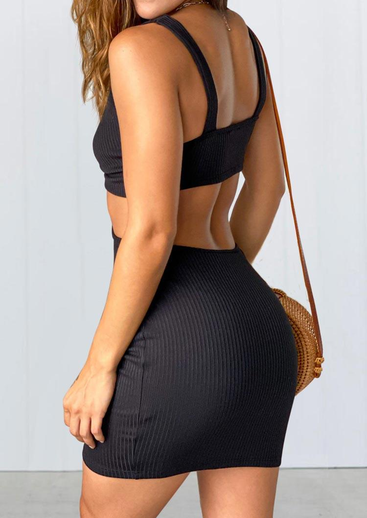 Hollow Out Open Back Mini Dress - Black