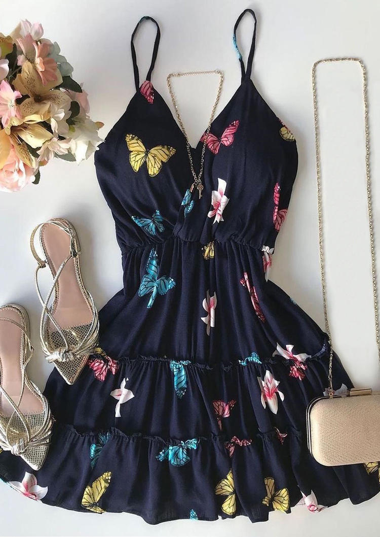 Colorful Butterfly Floral Adjustable Strap Elastic Waist Mini Dress