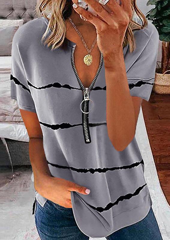 Striped Zipper Collar Casual Blouse - Gray