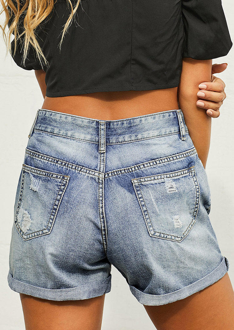 Pocket Button Distressed Ripped Hole Denim Shorts - Blue