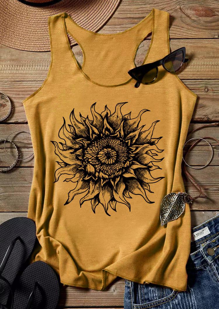 Sunflower Sleeveless Racerback Tank - Yellow