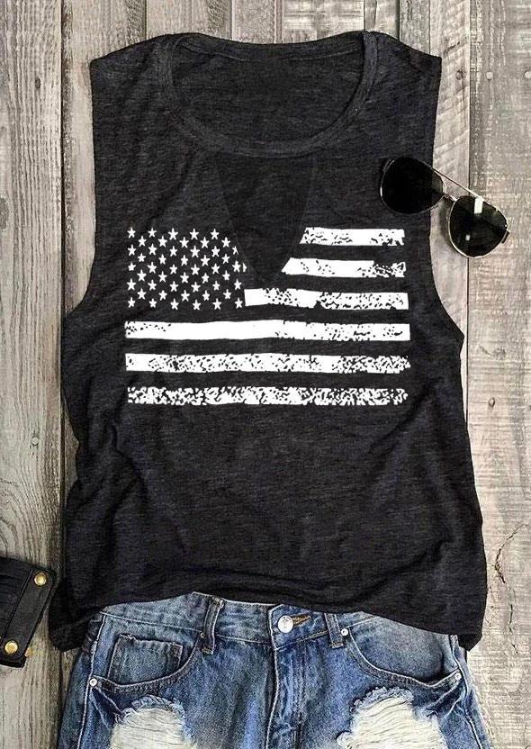 American Flag Star Striped Keyhole Neck Tank - Dark Grey