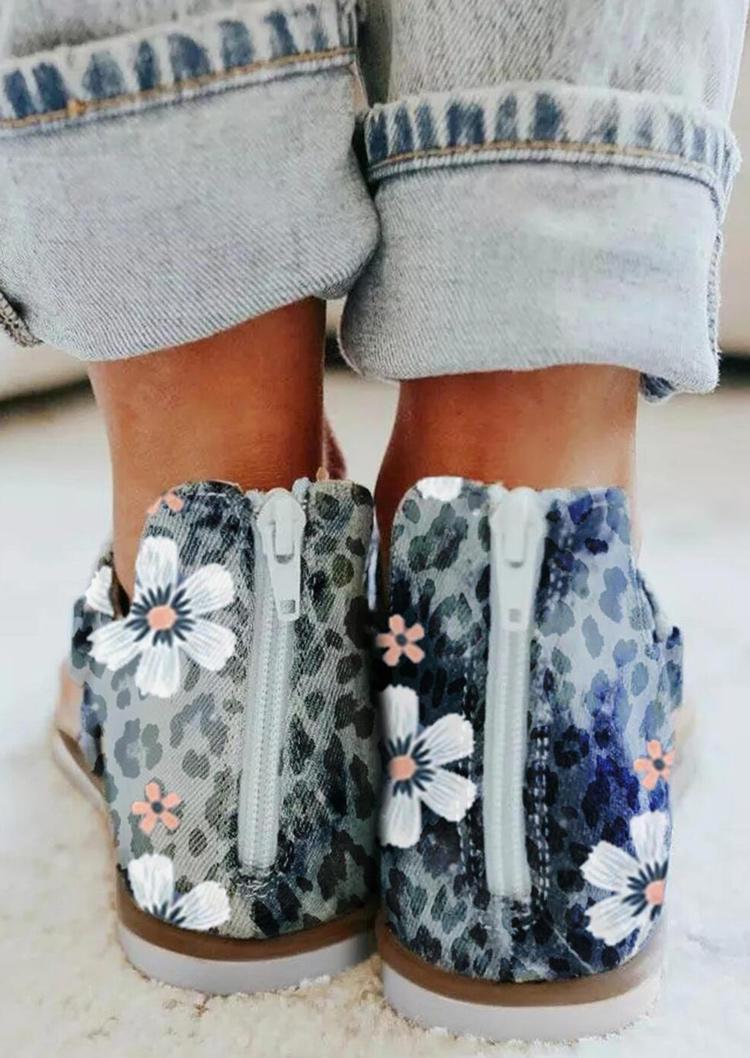Leopard Floral Zipper Thong Flat Sandals - Blue