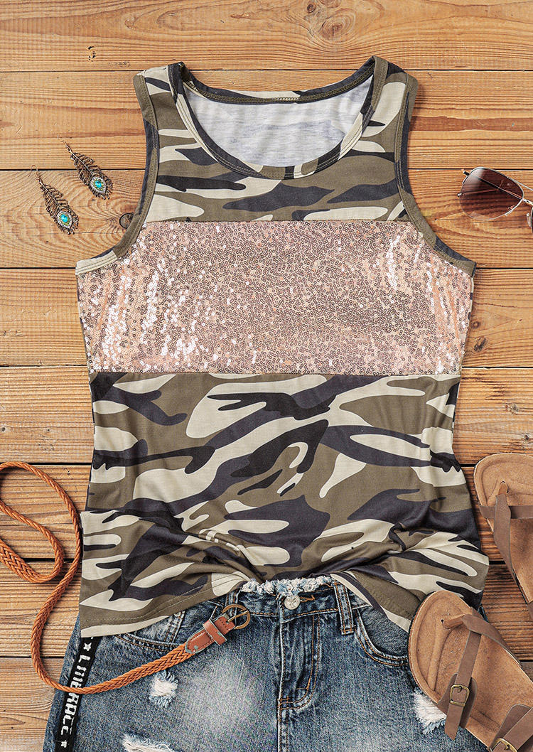 Camouflage Sequined Splicing Tank